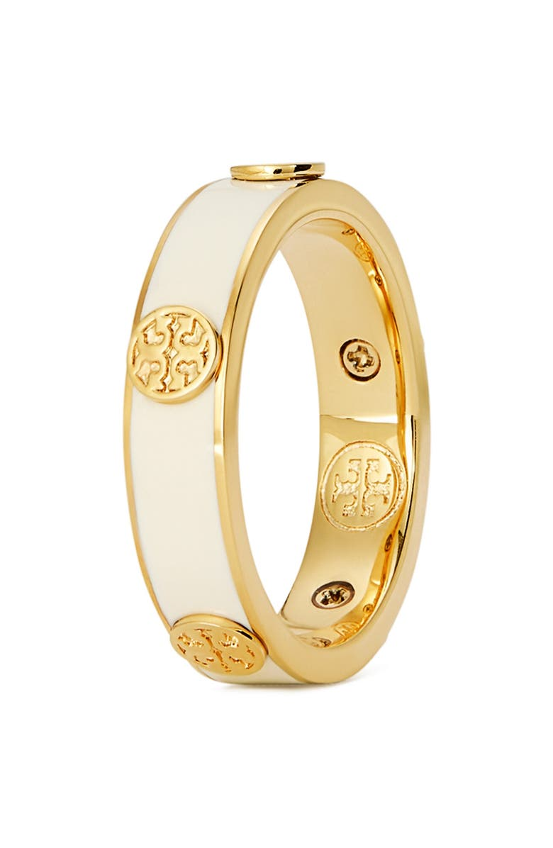 TORY BURCH Tory Buch Miller Stud Enamel Ring, Main, color, TORY GOLD / NEW IVORY