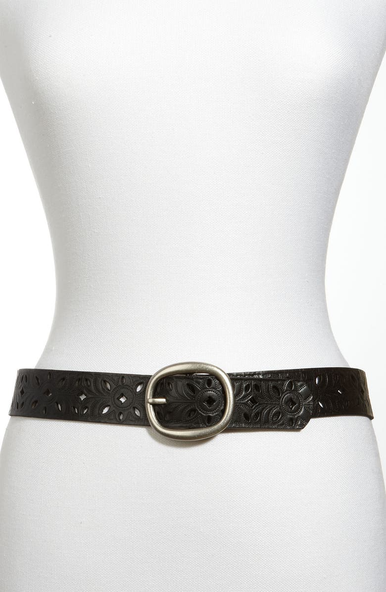 FOSSIL Perforated Leather Belt, Main, color, Black