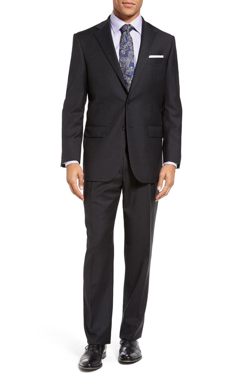 HART SCHAFFNER MARX Chicago Classic Fit Solid Wool Suit, Main, color, Charcoal