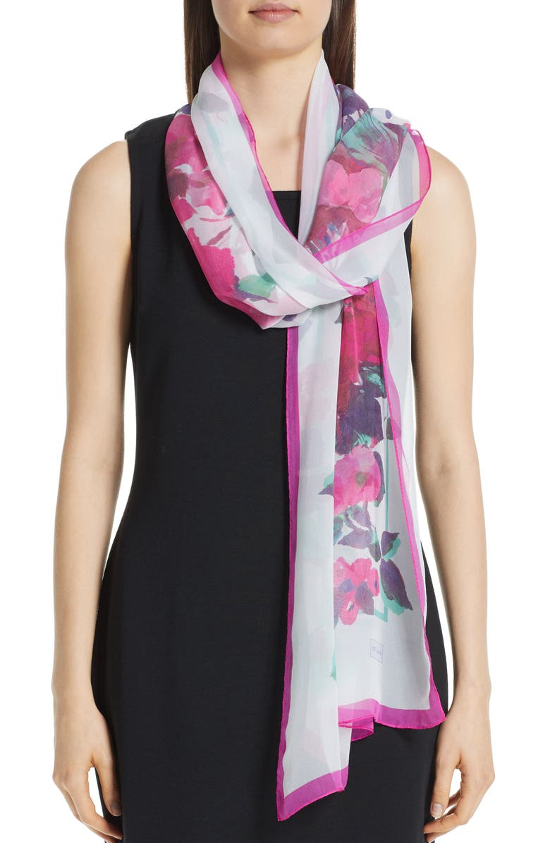 ST. JOHN COLLECTION Blossom Print Silk Georgette Scarf, Main, color, 050