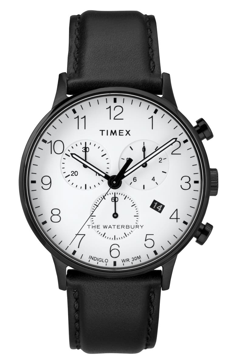 TIMEX<SUP>®</SUP> Waterbury Chronograph Leather Strap Watch, 40mm, Main, color, 013