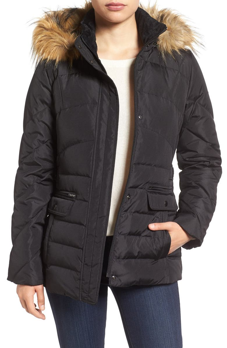 LARRY LEVINE Water Repellent Quilted Jacket with Faux Fur Trim, Main, color, 001