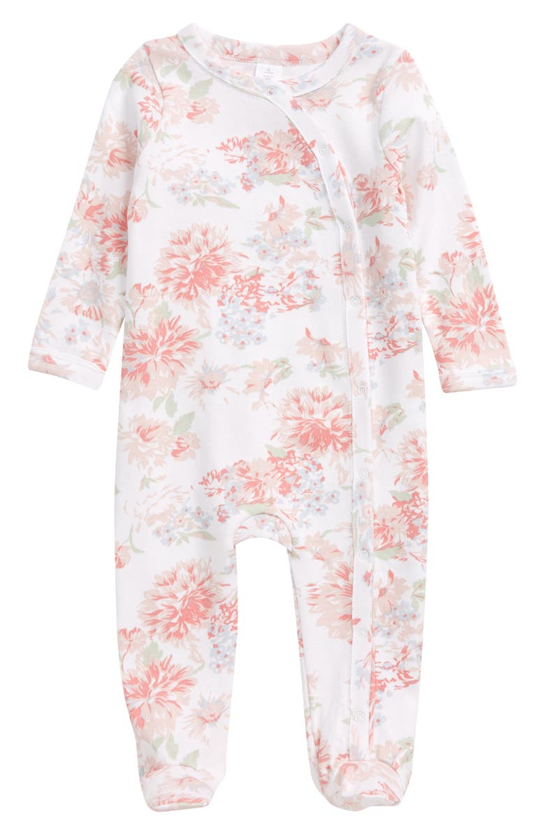 NORDSTROM BABY Print Footie, Main, color, WHITE POP BLOOM
