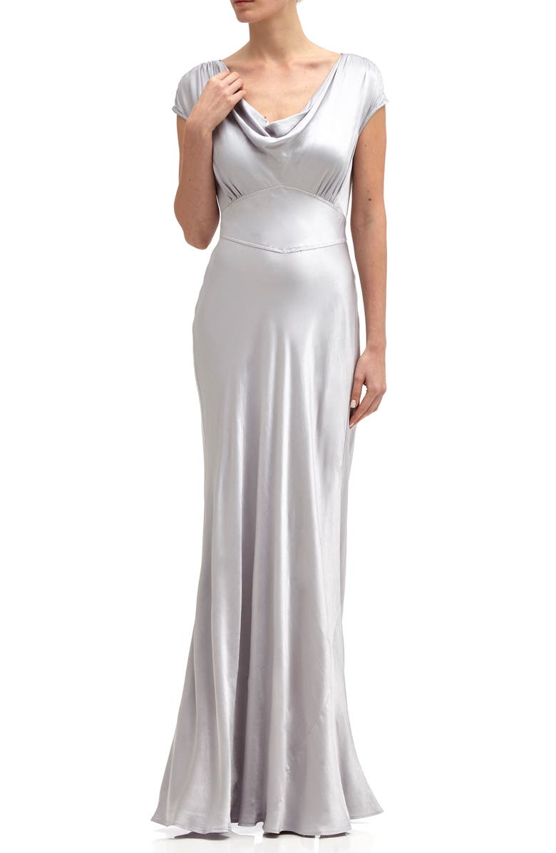 GHOST LONDON Fern Cowl Neck Satin Column Gown, Main, color, 040