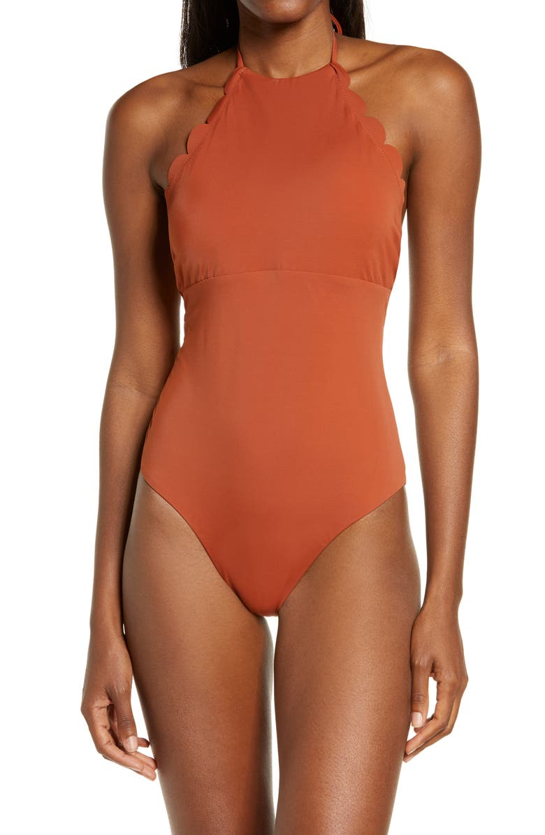 CHELSEA28 High Neck Scalloped One-Piece Swimsuit, Main, color, BROWN SPICE