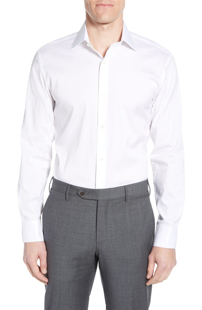 BONOBOS Slim Fit Stretch Solid Dress Shirt, Main, color, 100