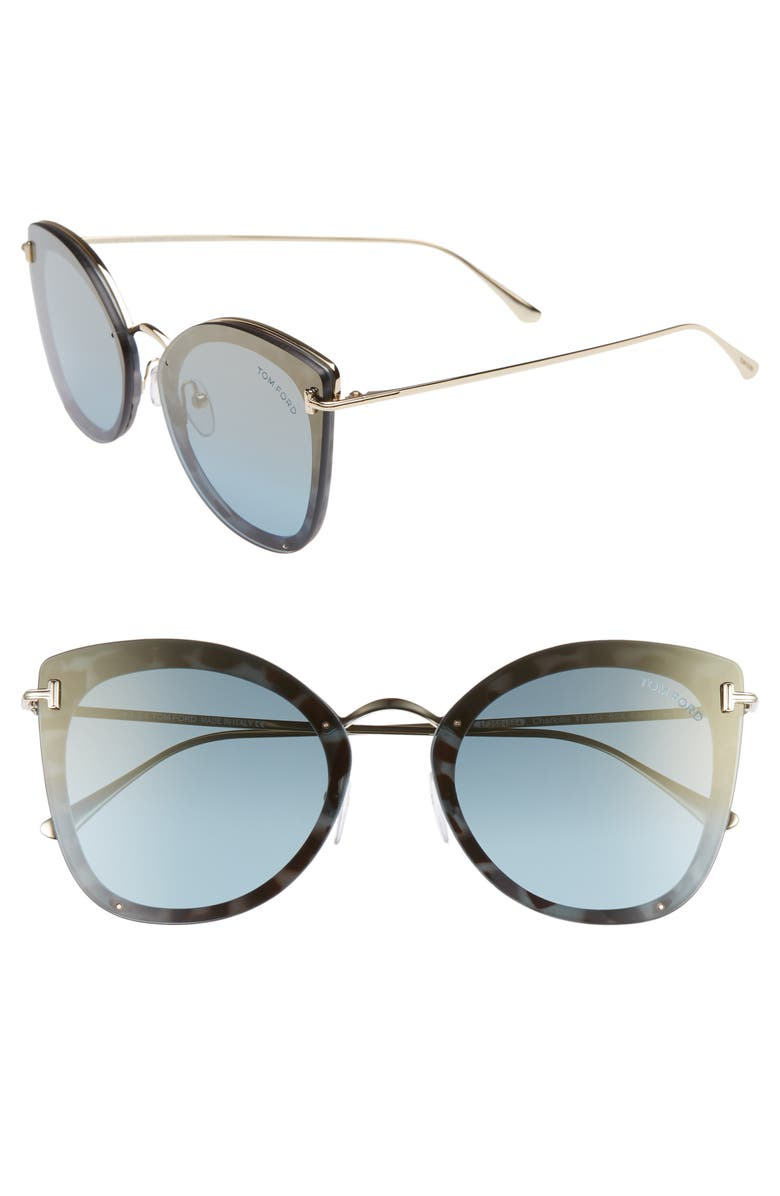 TOM FORD 62mm Oversize Butterfly Sunglasses, Main, color, LIGHT BLUE/ PALE GOLD/ GOLD