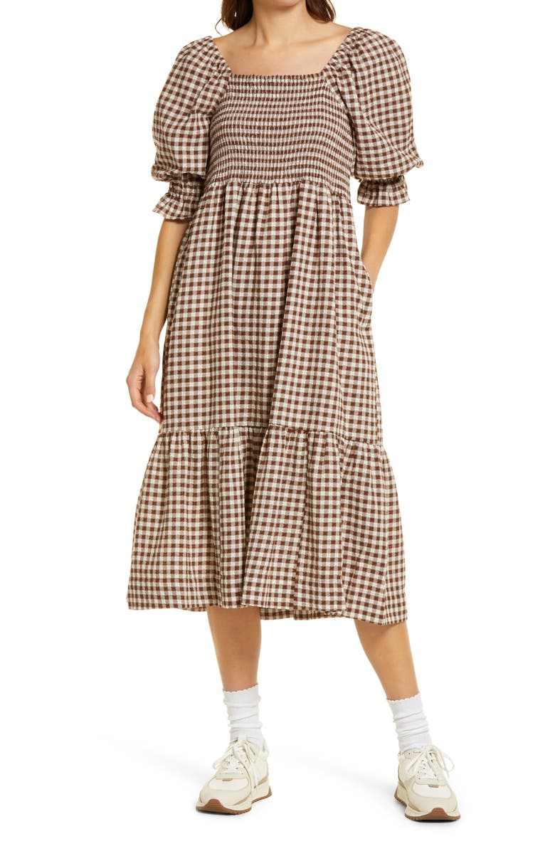 MADEWELL Lucie Gingham Elbow Sleeve Smocked Midi Dress, Main, color, RICH BROWN