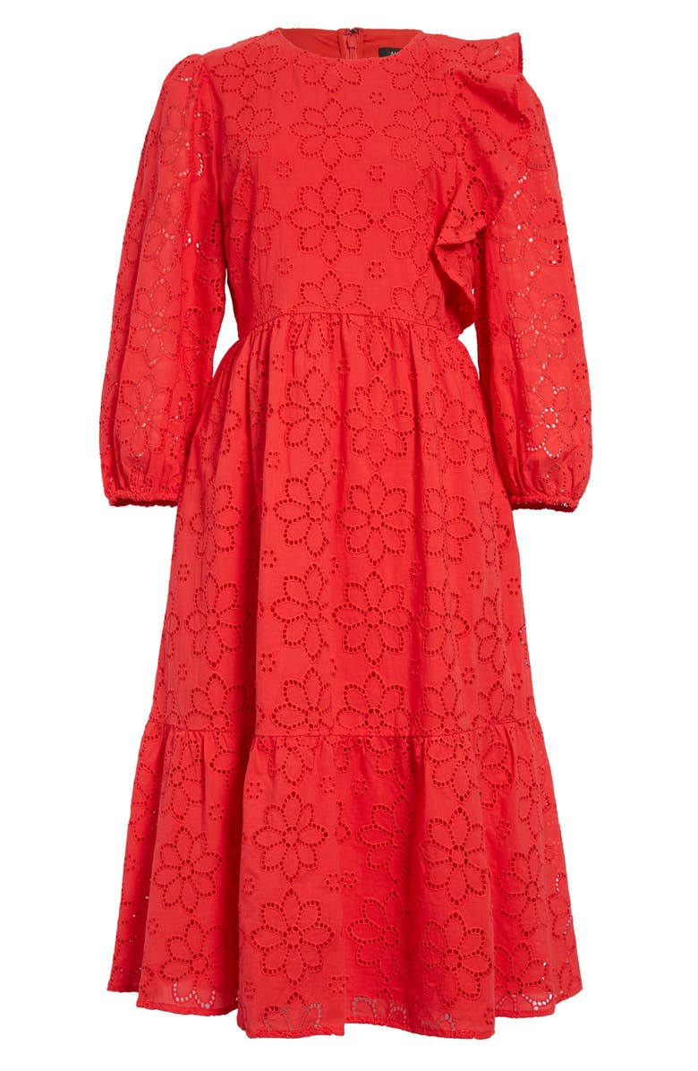 HALOGEN<SUP>®</SUP> Ruffle Detail Eyelet Fit & Flare Dress, Main, color, RED POINSETTIA