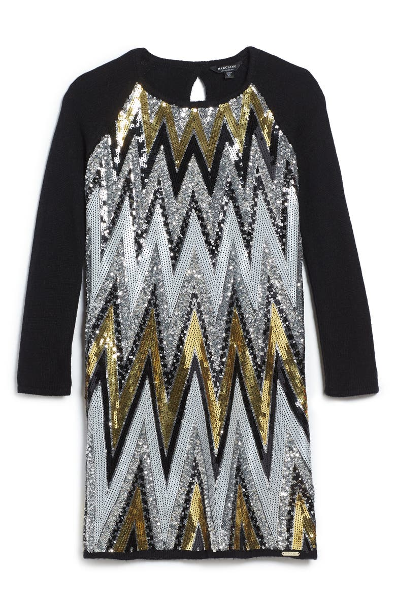 MARCIANO Chevron Sequin Sweater Dress, Main, color, 001