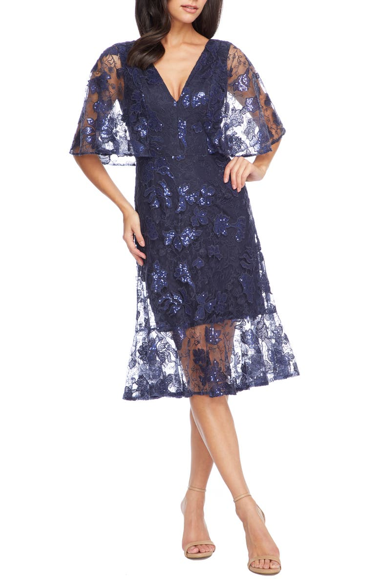 DRESS THE POPULATION Roseanna Lace Sequin Fit & Flare Dress, Main, color, NAVY
