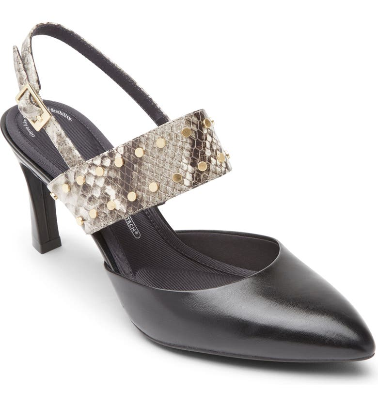 ROCKPORT Total Motion Sheehan Pointed Toe Stud Pump, Main, color, BLACK LEATHER