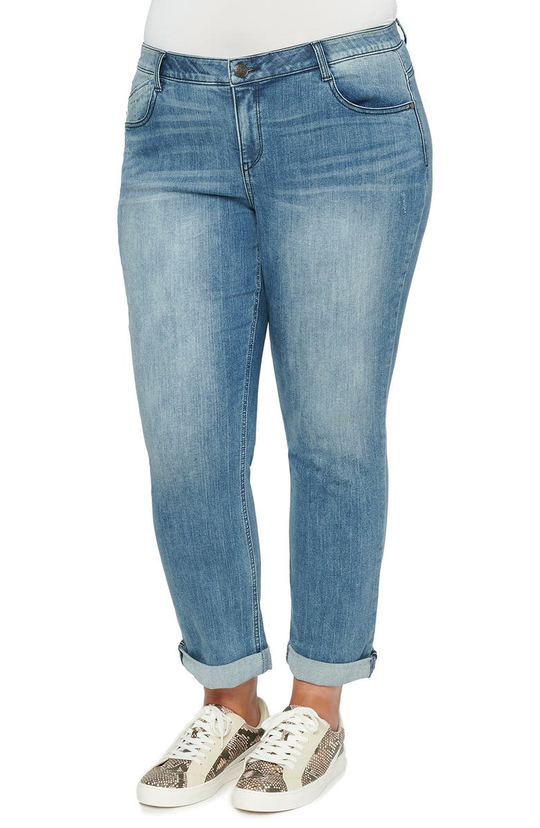 WIT & WISDOM Ab-Solution Distressed Girlfriend Jeans, Main, color, BLUE