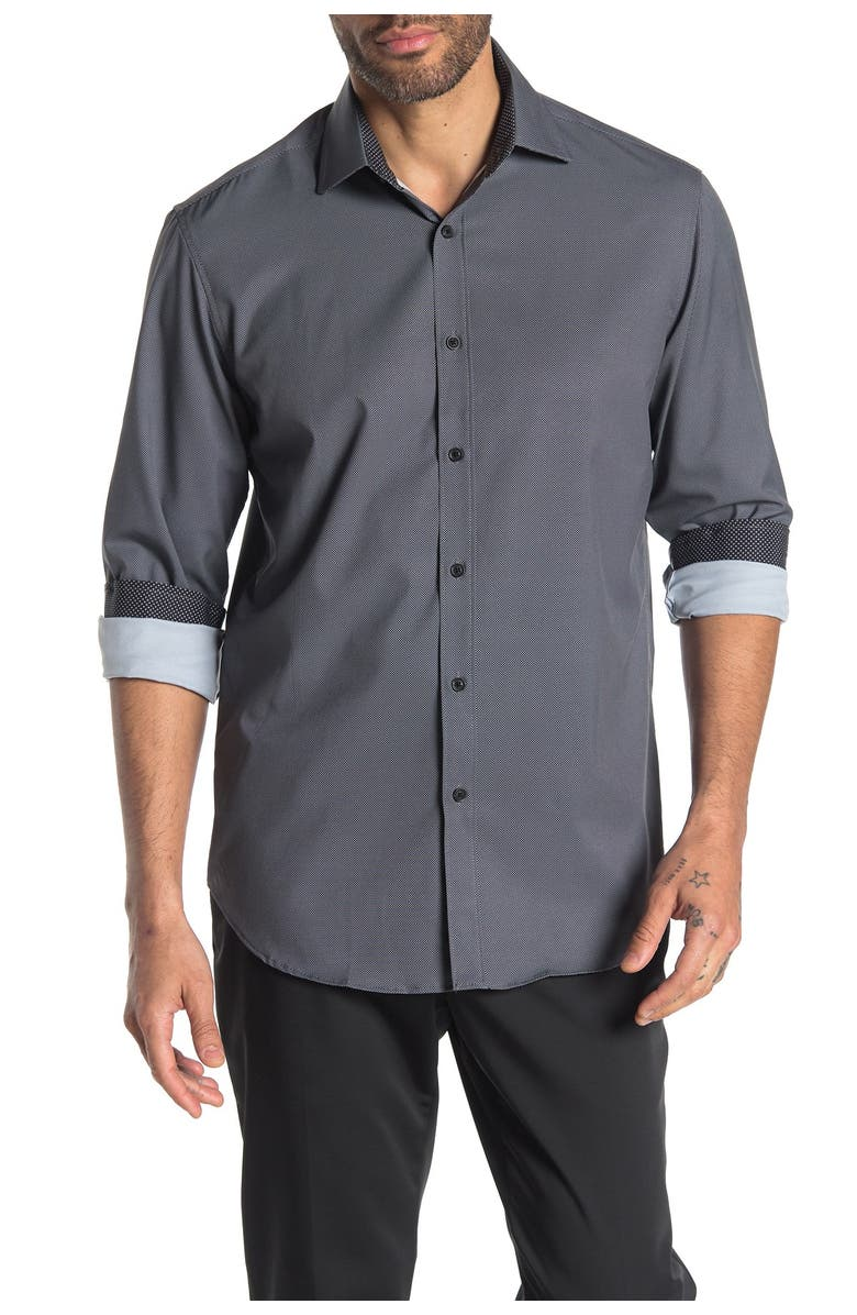CONSTRUCT Long Sleeve 4-Way Stretch Slim Fit Shirt, Main, color, BLACK
