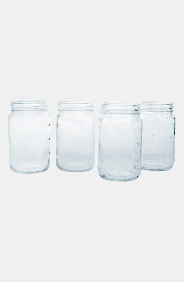 CATHY'S CONCEPTS Monogram Glass Mason Jars, Main, color, CLEAR