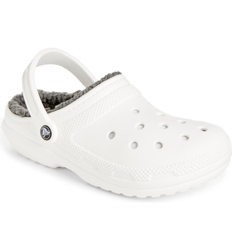 CROCS<SUP>™</SUP> Classic Lined Slipper, Main, color, WHITE/ GREY