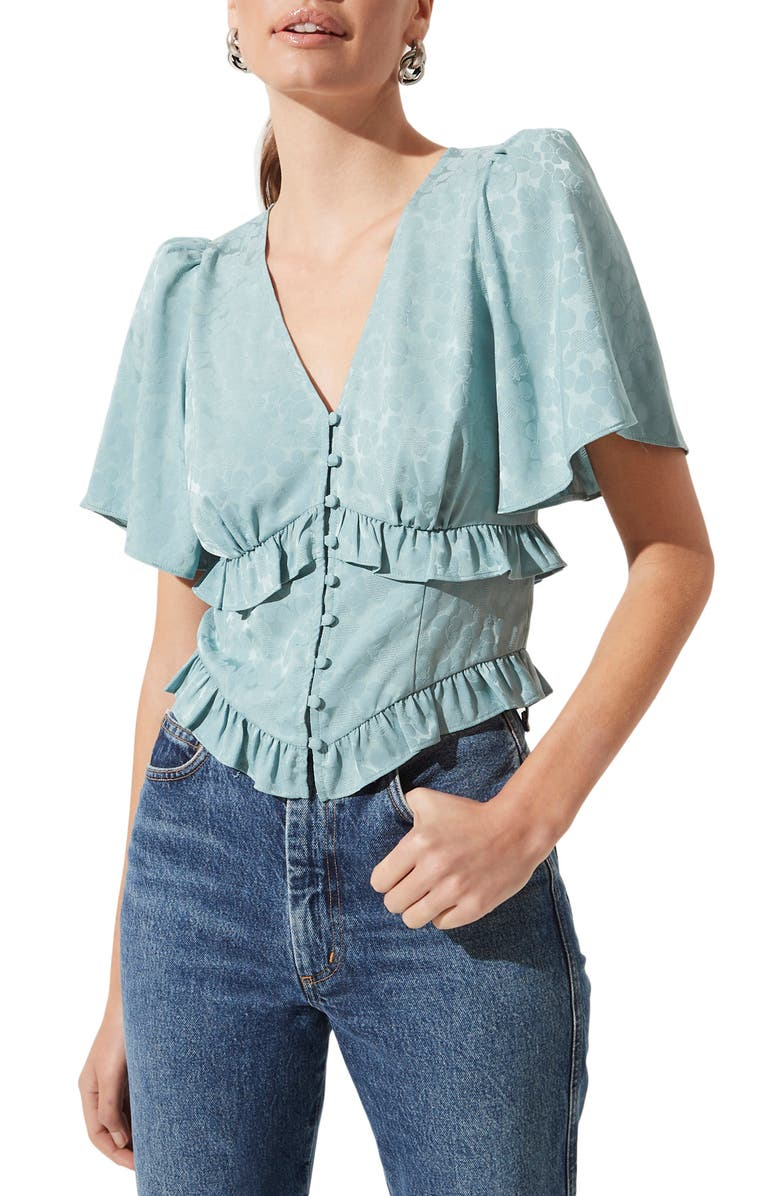ASTR THE LABEL Ruffle Top, Main, color, SAGE