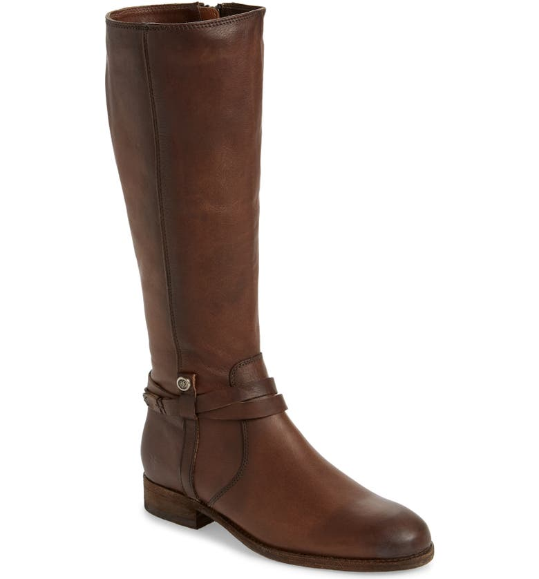 FRYE Melissa Belted Knee-High Riding Boot, Main, color, STONE LEATHER