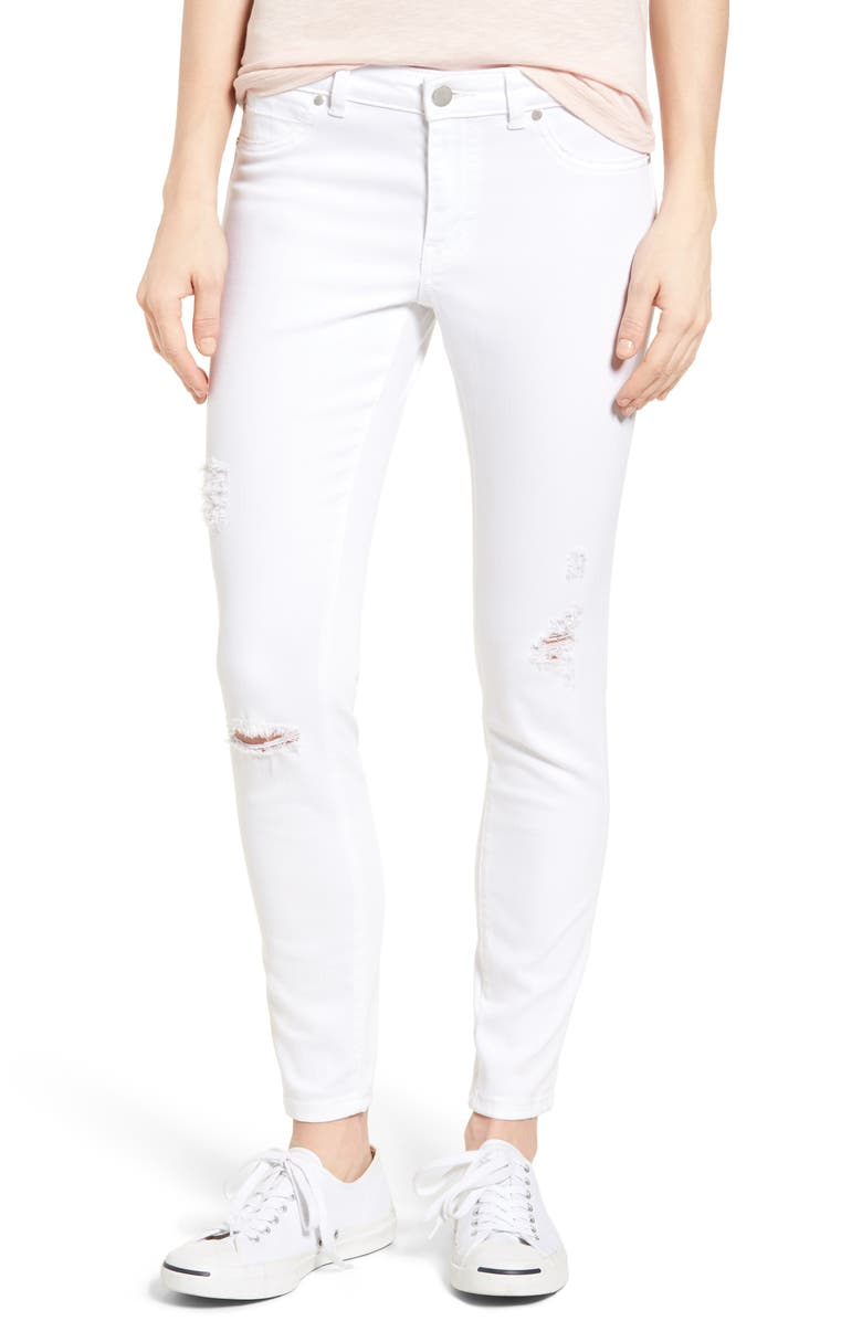 CASLON<SUP>®</SUP> Distressed Skinny Jeans, Main, color, White