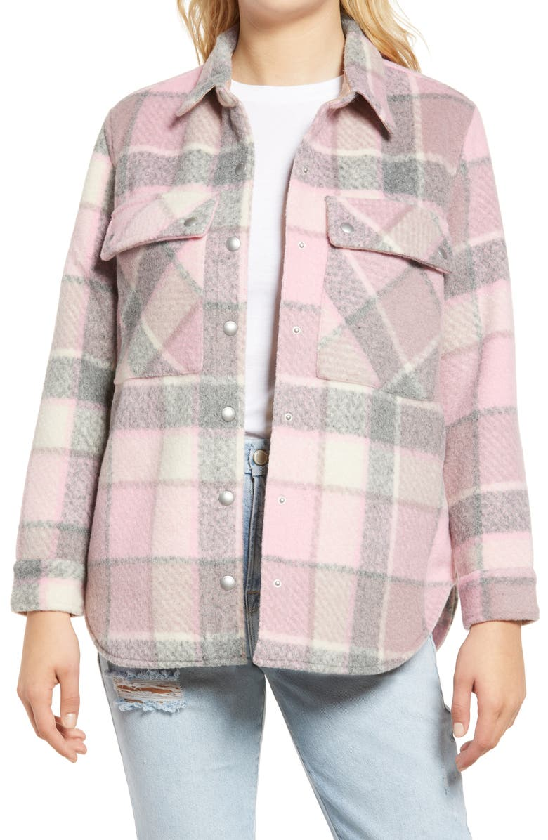 BLANKNYC Plaid Flannel Shirt Jacket, Main, color, CABIN FEVER