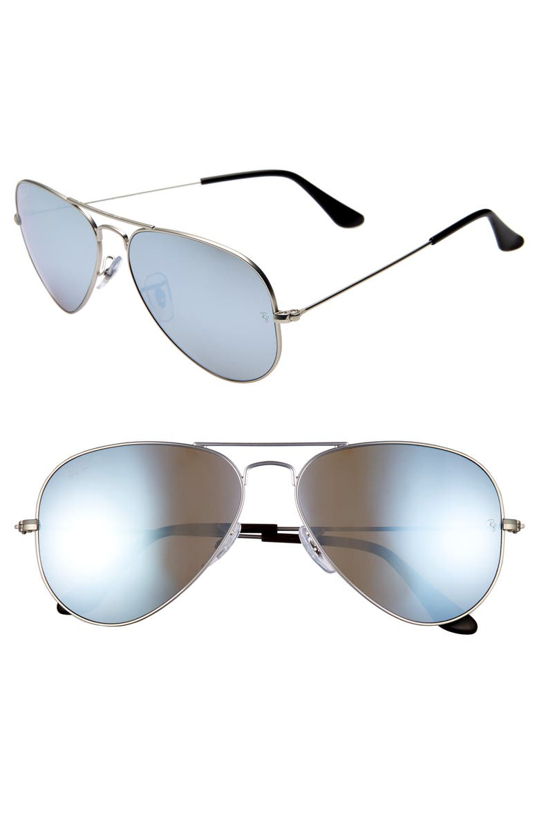 RAY-BAN Standard Icons 58mm Mirrored Polarized Aviator Sunglasses, Main, color, SILVER/ SILVER MIRROR