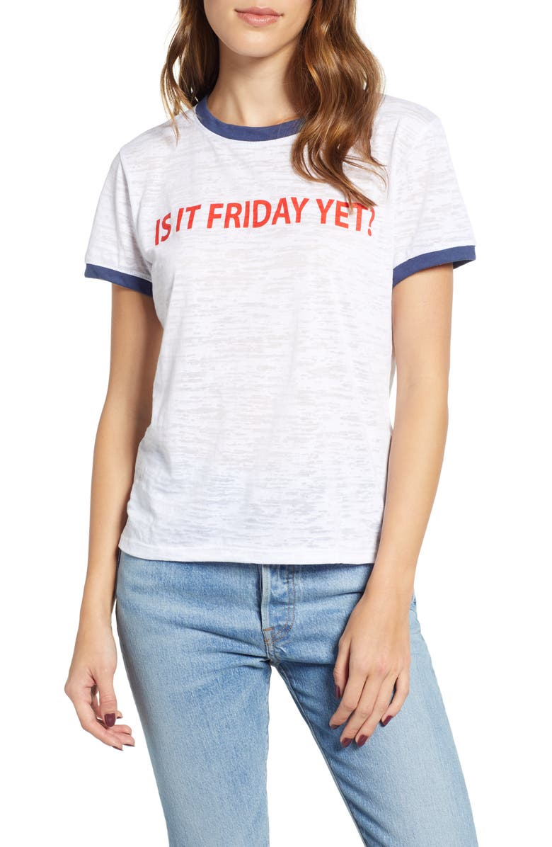 PRINCE PETER Is It Friday Yet Ringer Tee, Main, color, 100