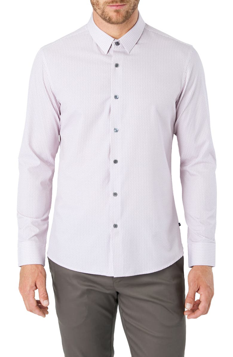 7 DIAMONDS In My Feelings Slim Fit Button-Up Performance Shirt, Main, color, 100