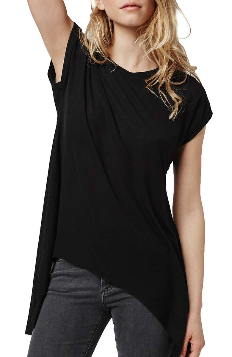 TOPSHOP Split Back High/Low Tee, Main, color, 001