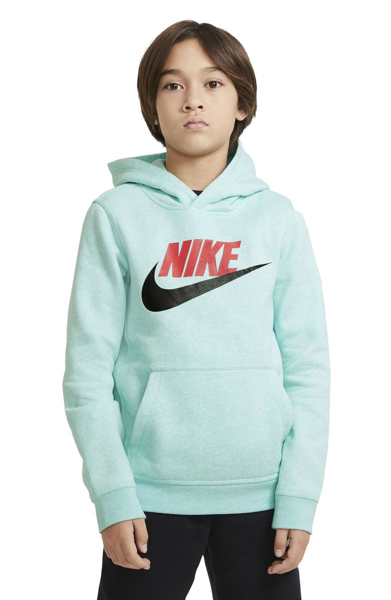 NIKE Kids' Sportswear Club Fleece Hoodie, Main, color, TROPICAL TWIST/ HEATHER