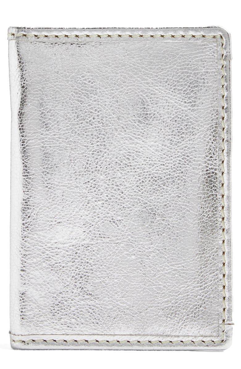 TOPSHOP Leather Card Holder, Main, color, Silver