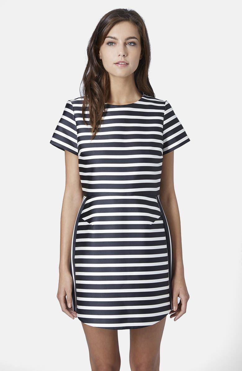 TOPSHOP Satin Stripe A-Line Dress, Main, color, 001