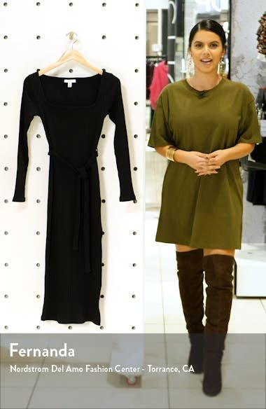 Jersey Ribbed Long Sleeve Midi Dress, sales video thumbnail