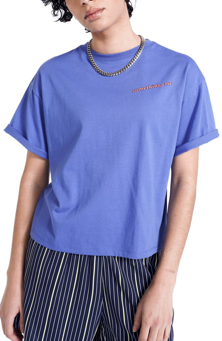 BP. + WILDFANG Boxy Organic Cotton Graphic Tee, Main, color, BLUE SOMETHING ELSE