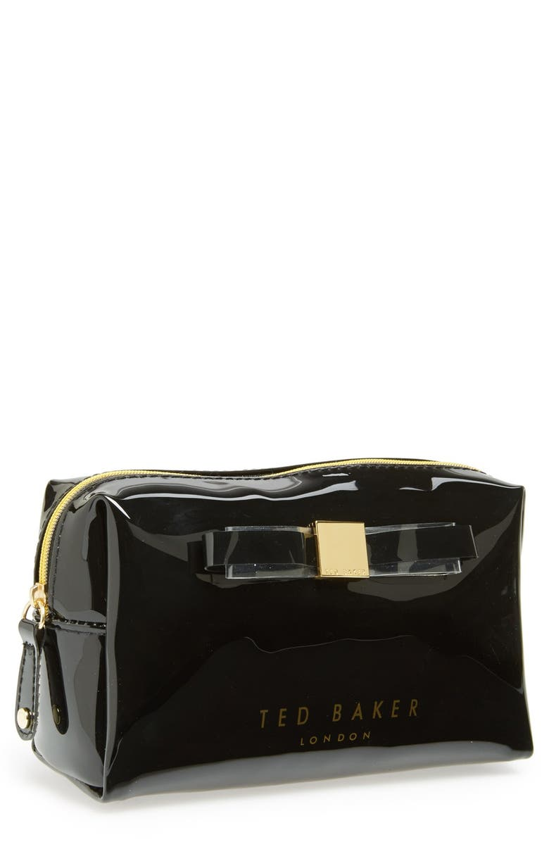 TED BAKER LONDON 'Bow - Small' Cosmetics Case, Main, color, 001