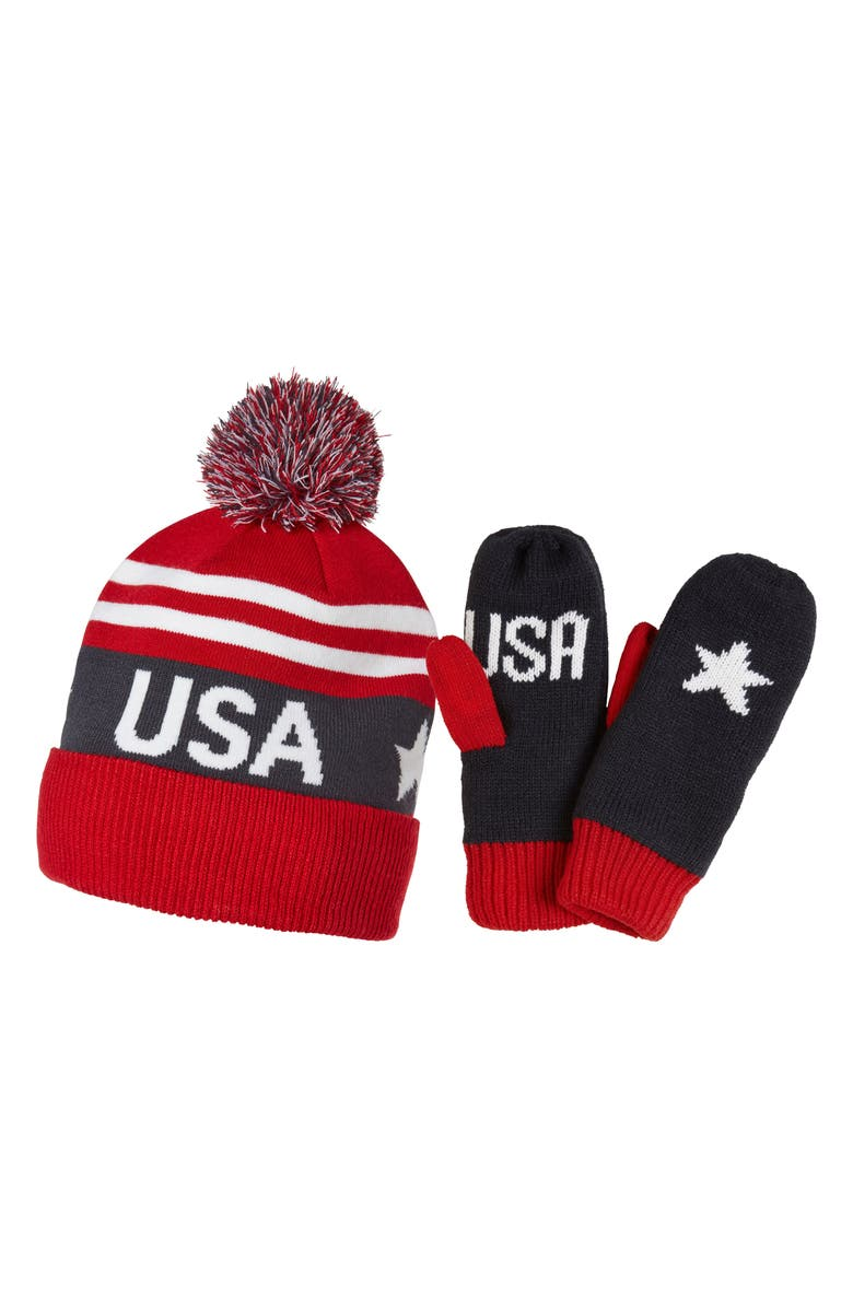HELLY HANSEN Going For Gold Knit Cap & Mittens Gift Set, Main, color, 405