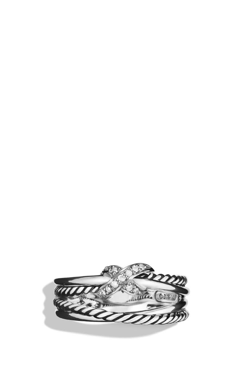 DAVID YURMAN X Crossover Ring with Diamonds, Main, color, DIAMOND
