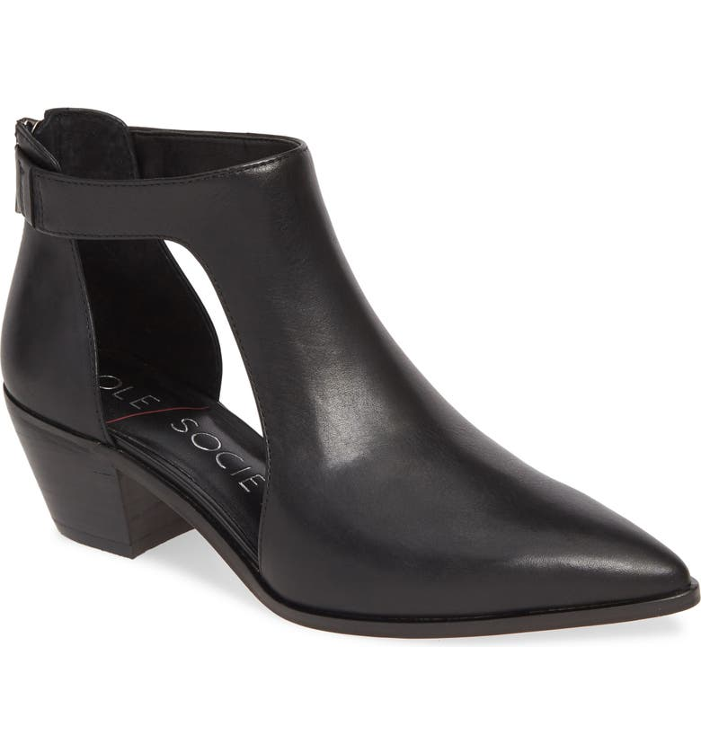 SOLE SOCIETY Lanette Pointy Toe Bootie, Main, color, 001