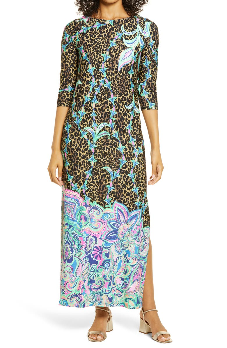LILLY PULITZER<SUP>®</SUP> ChillyLilly Seraline UPF 50+ Maxi Dress, Main, color, MULTI BEST KEPT SECRET CHILLY