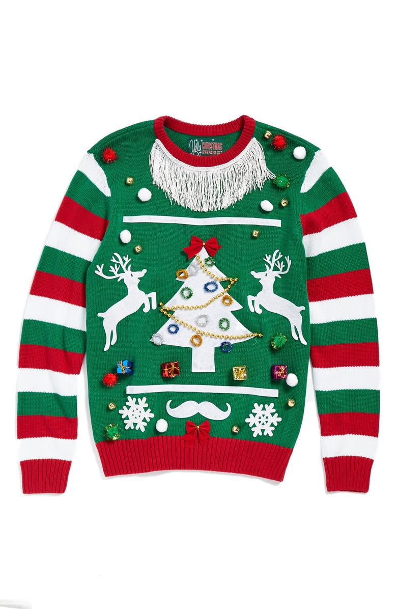 UGLY CHRISTMAS SWEATER 'Make Your Own - Green Stripe' Sweater Kit, Main, color, EMERALD