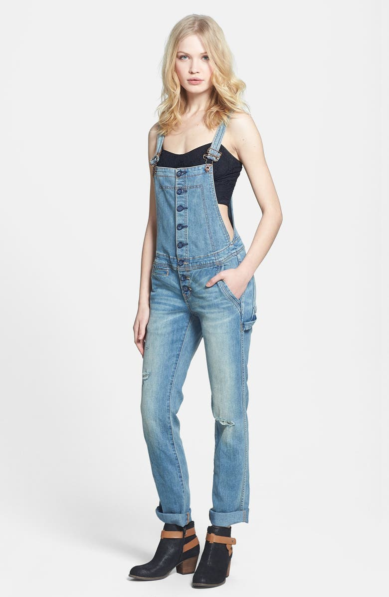 FREE PEOPLE Button Front Denim Overalls, Main, color, 497
