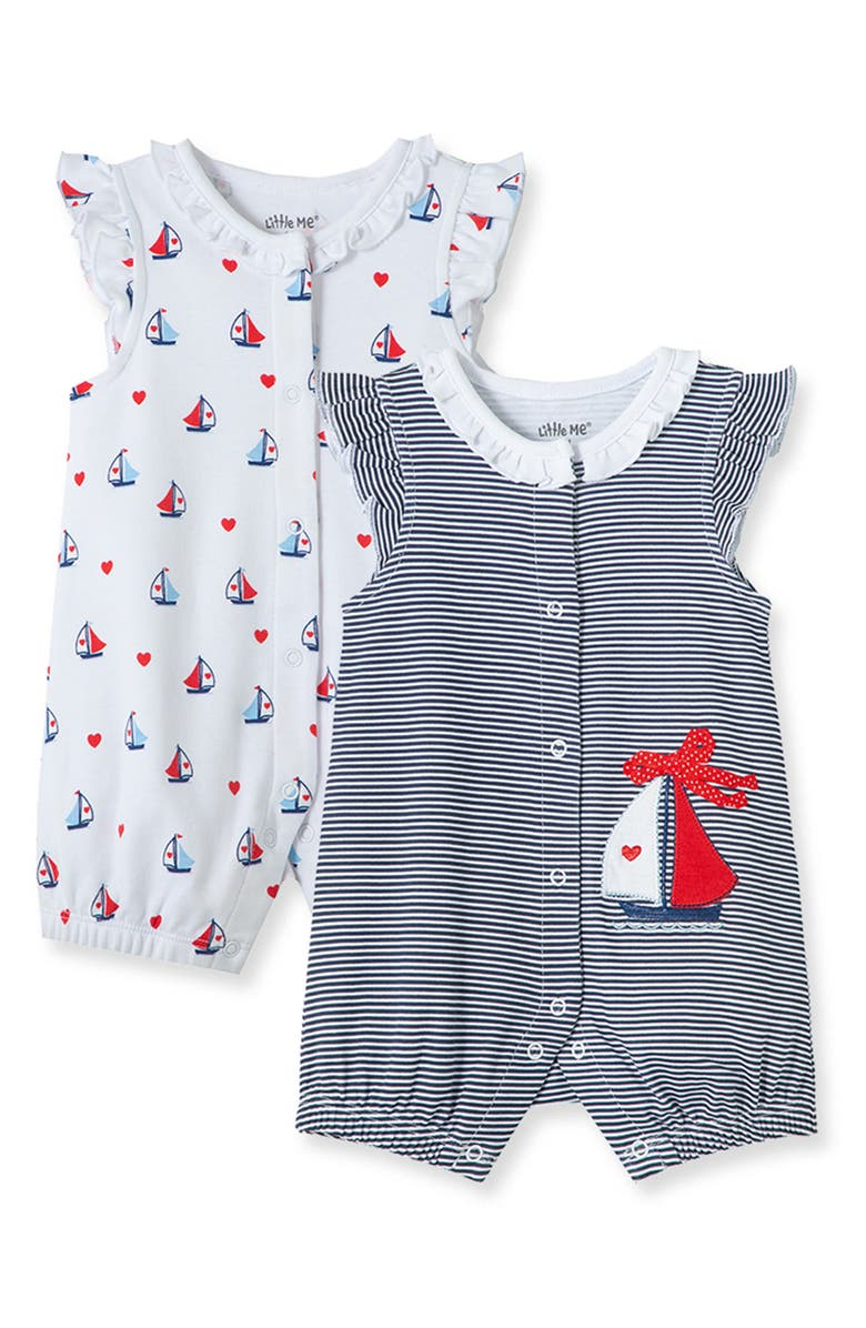 LITTLE ME Sailboat Rompers - Pack of 2, Main, color, BLUE