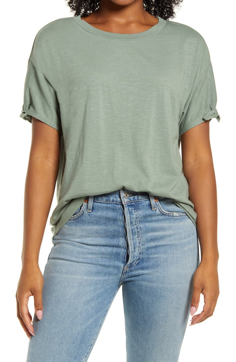 CASLON<SUP>®</SUP> Tie Sleeve T-Shirt, Main, color, GREEN DUNE