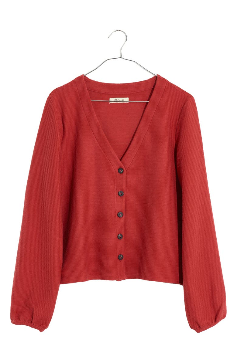 MADEWELL Texture & Thread Bubble-Sleeve Cardigan, Main, color, RUSTED RED