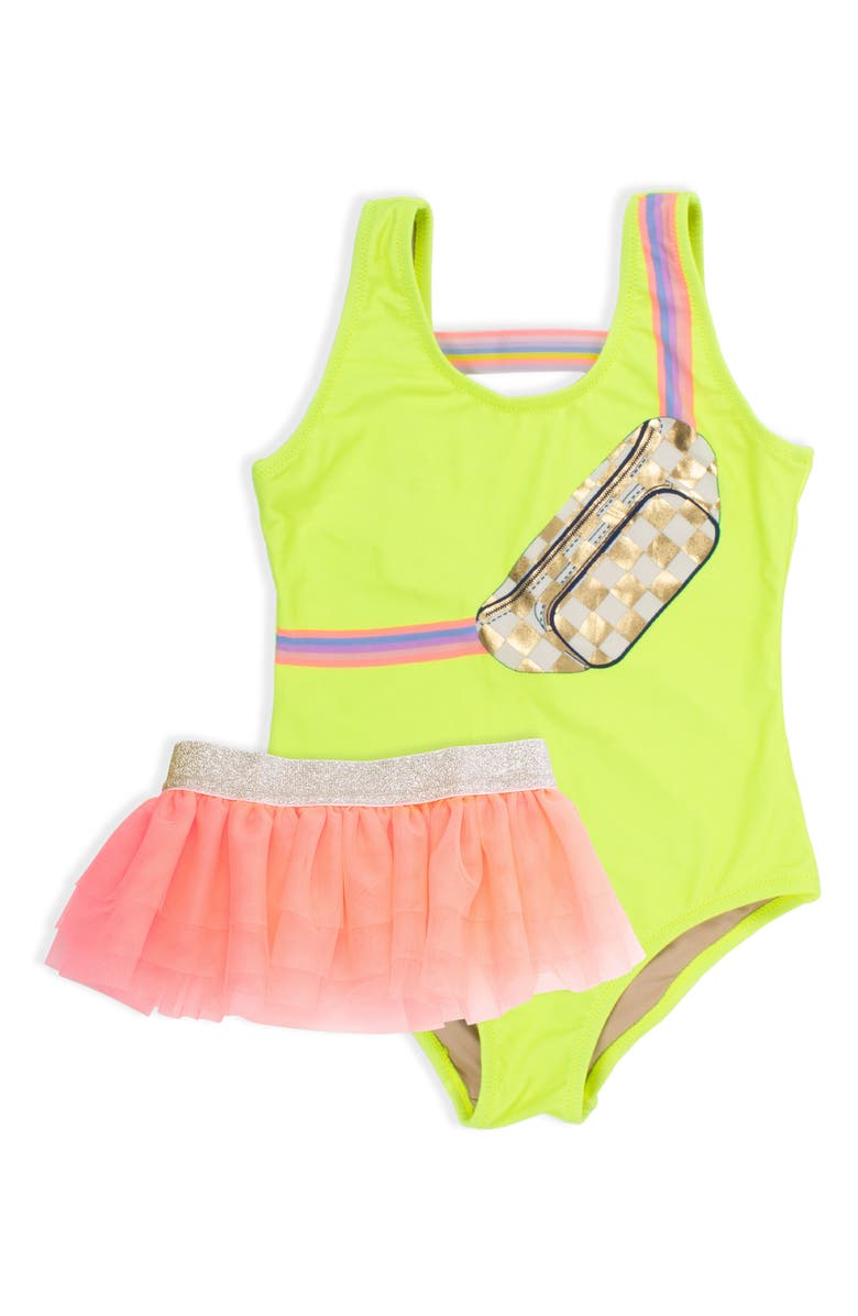 SHADE CRITTERS Citron Fanny Pack One-Piece Swimsuit & Tulle Skirt Set, Main, color, 700