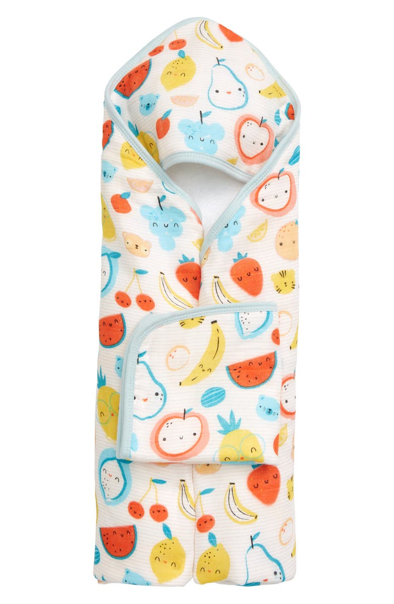 LOULOU LOLLIPOP Cutie Fruits Muslin Hooded Towel & Washcloth Set, Main, color, 700
