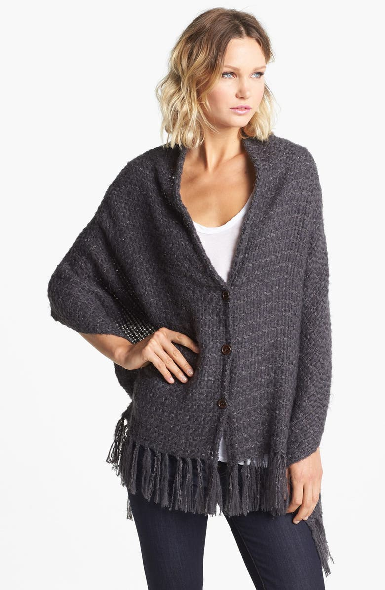 NORDSTROM Fringed Button Front Wrap, Main, color, GREY FORGED