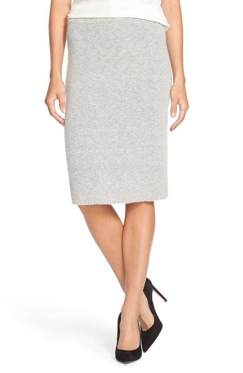 HALOGEN<SUP>®</SUP> Sweater Knit Pencil Skirt, Main, color, HEATHER GREY