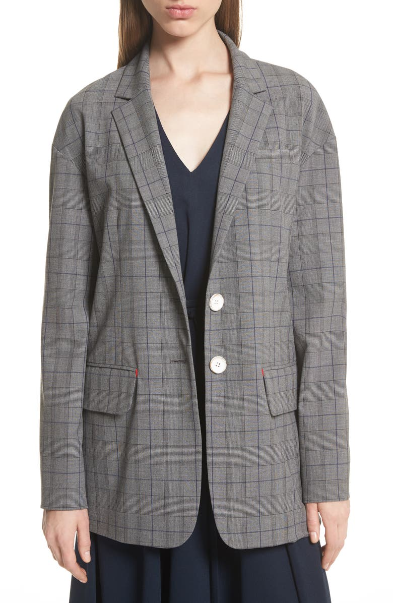 TIBI Oversize Glen Plaid Blazer, Main, color, 006