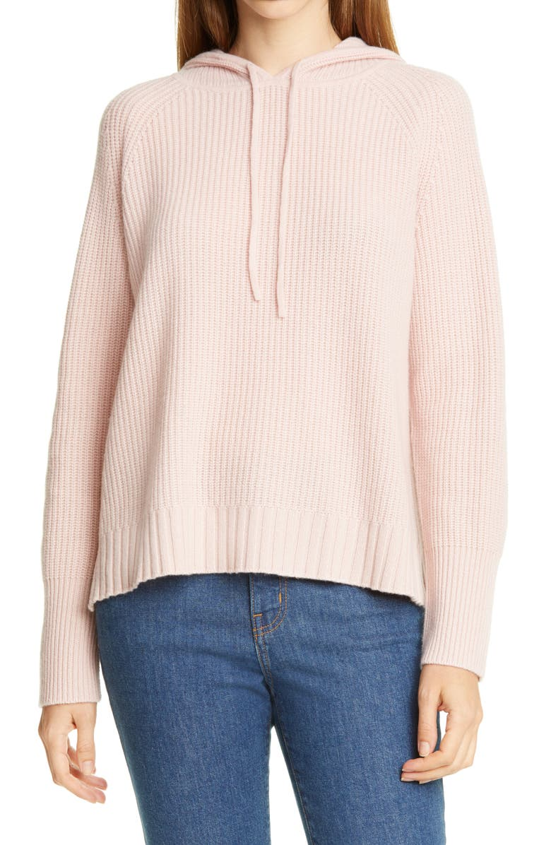 NORDSTROM SIGNATURE Cashmere Hoodie, Main, color, PINK LOTUS