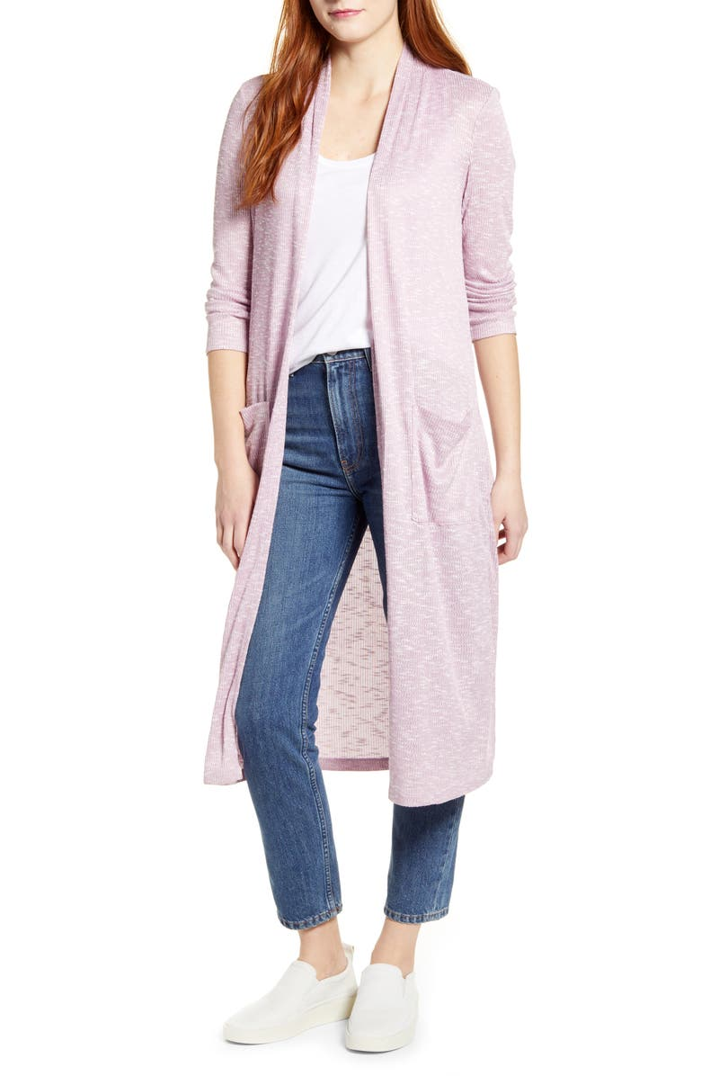 BOBEAU Ribbed Knit Long Cardigan, Main, color, 533